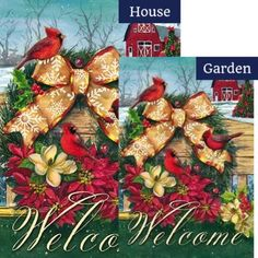 Cardinals Wreath on Fence Flags Set (2 Pieces)