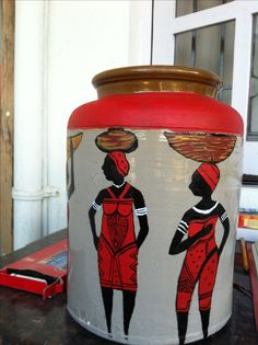 African women - painting on pickle jar Pickle Jars, Woman Painting, African Women, House, Ideas, Home, Thoughts, Homes, Houses