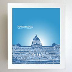 Pennslyvania Skyline State Capitol Landmark - Modern Gift Decor Art Poster 8x10. $20.00, via Etsy.