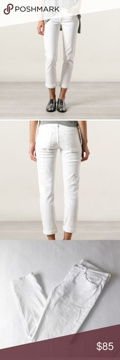"""7 For All Mankind Josefina Boyfriend White Crop Excellent condition white Joesifna Skinny Boyfriend Jean by 7 for all mankind. I say excellent condition and not NWOT only because these were washed (but never dried). No imperfections what so ever. Size 28 and approximately a 27"""" inseam. These are """"Crop"""" jeans but can be worn rolled up like in stock photo or rolled down. 7 For All Mankind Jeans Ankle & Cropped"""