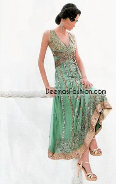 Pakistani Latest Anarkali Fashion – Sea Green Outfit