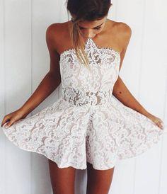 5e6832d0fa51 Homecoming Dresses White Sleeveless Lace Satin Zipper-Up Lace Mini  Strapless Aline