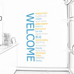 welcome in different languages wall decal | wall decals » business signs » welcome feature decal set - in many ...