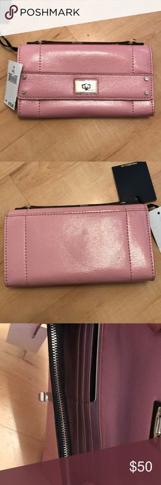 Pink patent leather Milly wallet Milly brand new with tags, clutch wallet. Turn lock closure flap front, thin handle at the top, slit pocket at the back and interior has one zip lengthwise pocket, open compartment, slot for bills and 6 credit card slots Milly Bags Wallets