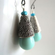 Glass Earrings Turquoise  now featured on Fab.