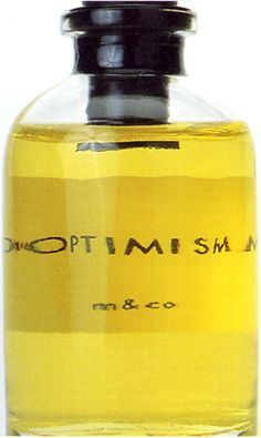 Tibor Kalman / Maria Kalman / Emily Oberman – Optimism, the 1991 M&Co holiday gift to clients and friends, a foul-smelling perfume in honour of the war in the Persian Gulf
