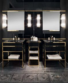 Academy Luxury, Black & gold furniture are a big design trend for bathrooms, #luxurybathroom #furnitureideas #bathroomdecor