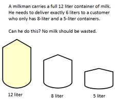 How can you measure 6 liters, if you have a full 12 liter jug and empty 8 and 5 liter jugs? #riddle #brainteaser  What about measuring all whole amounts from 1 to 12?  Answer in blog: http://mindyourdecisions.com/blog/2015/09/13/the-3-jug-riddle-sunday-puzzle/#.VfXYpRFVhBc