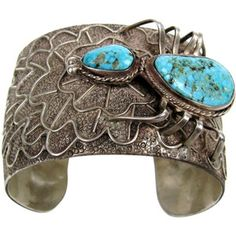 Pre-owned Turquoise Sterling Silver Navajo Spider Cuff Bracelet