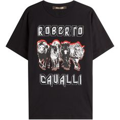 Roberto Cavalli Printed Cotton T-Shirt ($235) ❤ liked on Polyvore featuring tops, t-shirts, black, relaxed fit tee, slim tee, animal print tees, slim fit t shirts and print tees