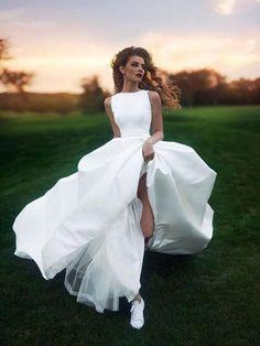 A-line Bateau Floor-length Sleeveless Satin Wedding Dress # VB410 #WeddingDressesShort
