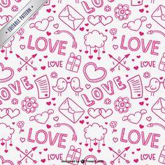 Lovely valentine pattern Free Vector