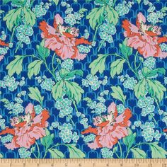 Amy Butler Violette Field Poppy Sky from @fabricdotcom  Designed by Amy Butler for Westminster, this cotton print fabric is perfect for quilting, apparel and home decor accents. Colors include lilac, orange, green, sky blue and royal.