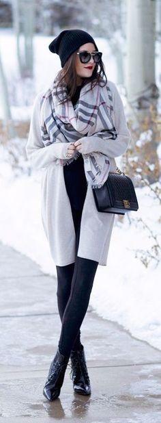 #winter #fashion / tartan scarf + gray coat