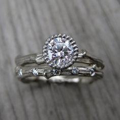 Moissanite Twig Engagement Ring - Rose, Yellow, or White Gold - Half Carat - Beaded Bezel