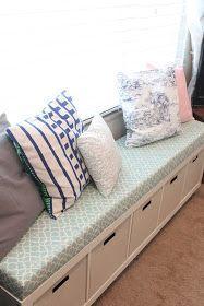 Mommy Vignettes: Ikea No-Sew Window Bench Tutorial.  Turn a bookshelf into a storage bench.
