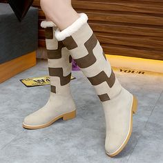 (138.95$)  Watch now - http://aimev.worlditems.win/all/product.php?id=32797997723 - Fashion Mixed Color Suede Leather Women Knee High Boots brand Warm Fur Long Snow Booties Flat Dress Shoes Woman Gladiator Boots