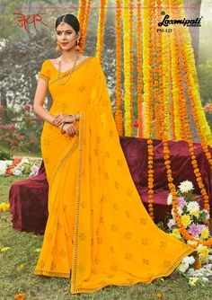 62220cdf80 Get this Impressive Yellow Colored #Georgette Resham & Stone Work  #Embroidery_Saree and Yellow. Laxmipati SareesGeorgette ...