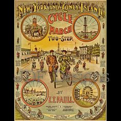 Instant Digital Download, Vintage Victorian Graphic, E. T. Paull New York & Coney Island Cycle March, Printable Image, Americana Typography