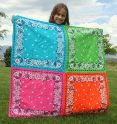 Bandana quilt for a picnic. Bandanas are like a dollar but they do the job of keeping you from sitting directly on the grass, plus fold up super small.