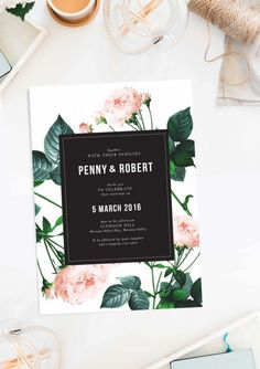 Modern Vintage Rose Wedding Invitations black white pink green wedding invites floral botanical perth canberra sydney melbourne adelaide australia wedding stationery pretty modern simple wedding invitations australia sail and swan