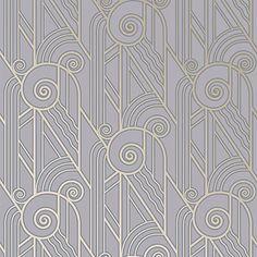Bradbury Retro Designs   Art Deco Style Volute Wallpaper in Periwinkle