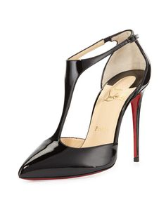 X2UN0 Christian Louboutin J String Patent Red Sole Pump, Black