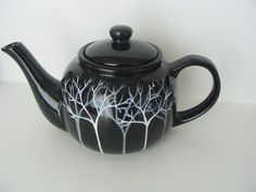 Tree Teapot Grey and White Tone on Tone Hand by CANADIANCREATIONZ, $30.00