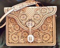 Custom Made Hand Carved Floral Tooled Briefcase