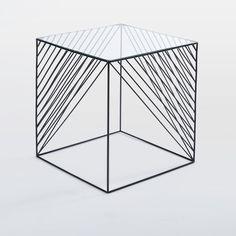 Crisscross Wire Side Table - Glass | west elm
