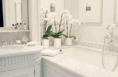 Decorate with white in the bathroom to reinforce a clean look.