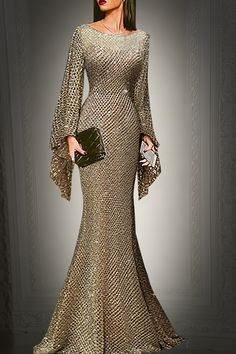 Description Product Name Elegant silver trumpet sleeve sexy fishtail evening dress SKU Material Polyester Type Casual Occasion Date/Vacation/Daily Life Product no. Please Note All dimensions are measured manually with a deviation of 1 to Dress Chiffon Maxi Dress, Maxi Dress With Sleeves, Bodycon Dress, Women's Evening Dresses, Women's Dresses, Fashion Dresses, Dance Dresses, Mode Online, Online Fashion Stores