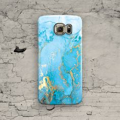 Marble Galaxy S7 Case Blue Turquoise Marble Galaxy by ByKustomKase