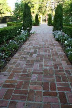 Front Yard and Garden Walkway Landscaping Inspirations 46 Landscape Design, Garden Design, Path Design, Brick Sidewalk, Brick Pathway, Brick Driveway, Brick Paver Patio, Red Brick Paving, Backyard Pavers