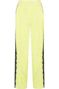 Christopher Kane Lace-trimmed printed stretch-crepe wide-leg pants   NET-A-PORTER