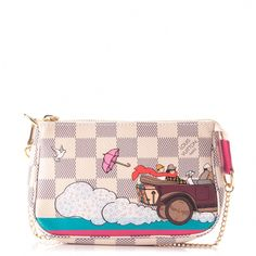 42f233e325b2 This is the authentic LOUIS VUITTON Damier Azur Evasion Mini Pochette  Accessories. This small accessory pouch features the playful and colorful  design of ...