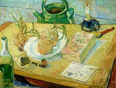 Art of the Day: Van Gogh, Still Life with Onions, January 1889. Oil on canvas, 50 x 64 cm