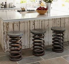 truck spring stools, look cool....dont know how comfy though
