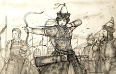 This is a highly conceptual Drawing for the Pontic-Caspian (Cuman-Kypchak) Steppe Turkic Women Warrior in the Historically Wrong Sketch Series - Medieva. Lady Sevindik of Desht-i Yurtubi (Cuman-Kypchak) Color Del Pelo, Eurasian Steppe, Golden Horde, Conceptual Drawing, Indian Language, Military Art, Women In History, Historian, Fantasy Characters