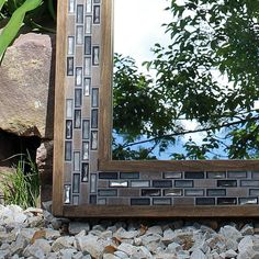 Wood and Tile Mirror  Bathroom Decor  Mosaic Frame  24 x 28