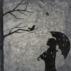 """Amy Keller   Singing in the Rain   encaustic and mixed media on braced board, 4""""x4"""" /sm"""