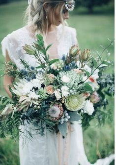 Boho Bride's Incredible Wedding Bouquet Showcasing King Protea + A Wonderful Variety Of Complementary Ingredients ~~