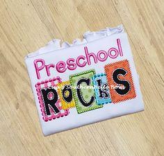 Preschool Rocks, Back to School Block TShirt- New Item
