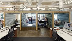 "Square's San Francisco Headquarters: The company's new office includes these creative cubbies. Denise Cherry, the lead designer on the project, was most proud of what she calls the ""tertiary spaces"" built with plywood and felt."