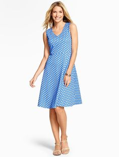 Edie Fit & Flare Dress-Abstract Peacock Dress - Talbots