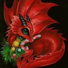 Art: Festive Little Red Yule Dragon by Artist Nico Niemi Magical Creatures, Fantasy Creatures, Fantasy Dragon, Fantasy Art, Cute Dragon Drawing, Baby Dragon Drawings, Christmas Dragon, Red Christmas, Dragon Dreaming
