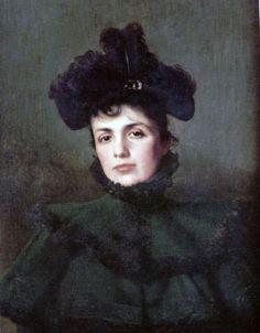 """Vittorio Matteo Corcos (1859-1933)  """"Ritratto della moglie Emma"""" 1889"""
