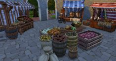The Sims 4 Medieval Finds Lotes The Sims 4, Sims 4 Mm Cc, Sims Four, Sims Medieval, Medieval Market, Medieval Town, Types Of Meat, Sims 4 Build, Sims 4 Houses