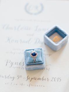 Oval sapphire engagement ring: Classic + Elegant English Estate Wedding Inspiration - http://www.stylemepretty.com/destination-weddings/2015/09/28/classic-elegant-english-estate-wedding-inspiration/