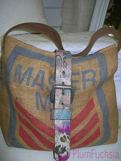 Sold. Handmade custom Handbag using genuine burlap feed or coffee sack bags. Genuine upcycled leather belt strap. All lined with authentic Ralph Lauren Fabric. All bags are reinforced at weak and worn areas. Made to last. These are the real deal. Nei The New Stylish White, Vibrant Red Large Ruffle Double Handle Satchel Hobo Handbag w/Shoulder Strap